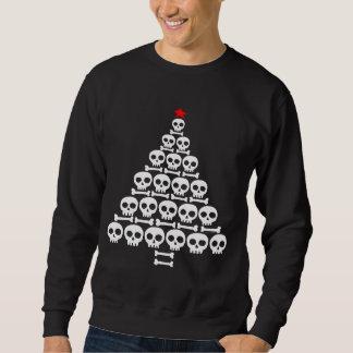 Sweatshirt Arbre blanc de crâne et de Noël d'os