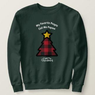 Sweatshirt Arbre de Noël rouge de plaid de Buffalo