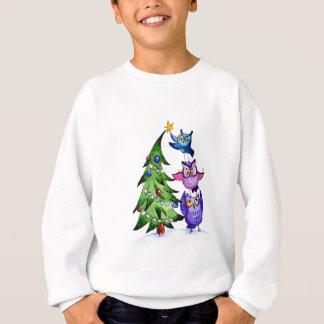 Sweatshirt Arbre de vacances de hiboux de Noël