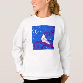 Sweatshirt Art de forêt de nuit de croissant de lune de hibou