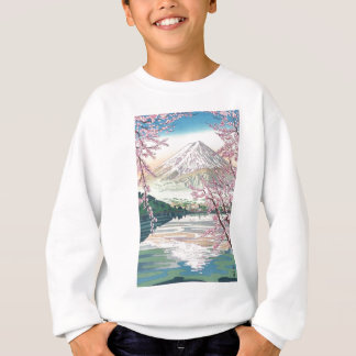 Sweatshirt Art oriental frais de cerisier de ressort de Fuji
