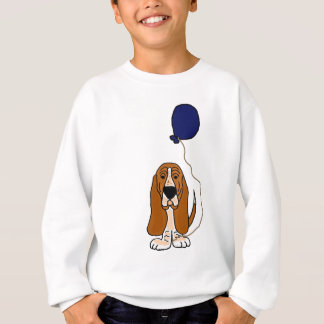 Sweatshirt Basset Hound drôle tenant le ballon bleu