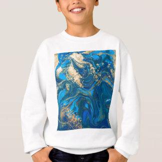 Sweatshirt Beau, profond marbre bleu, or, photo numérique