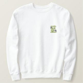 Sweatshirt Brodée Initiale E de monogramme de fleur