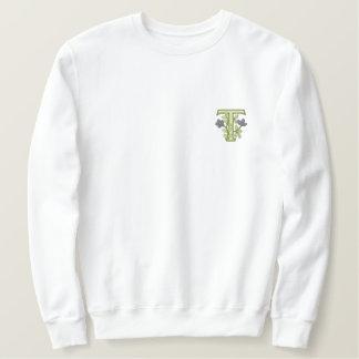 Sweatshirt Brodée Initiale T de monogramme de fleur