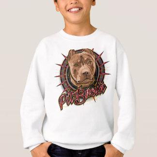 Sweatshirt brun et rouge radicaux de pitbull d'art de chien