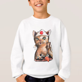 Sweatshirt cat eating sushi