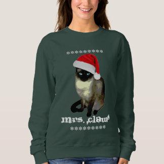 Sweatshirt Chandail laid de Noël de chat siamois de Mme Claws