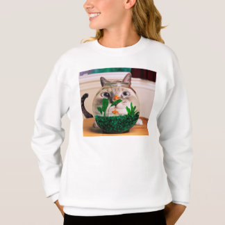 Sweatshirt Chat et poissons - chat - chats drôles - chat fou