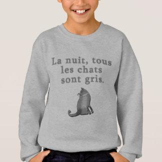 Sweatshirt Chats français indiquant des produits