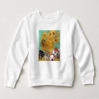 Sweatshirt Chiens mignons avec les tournesols de Van Gogh