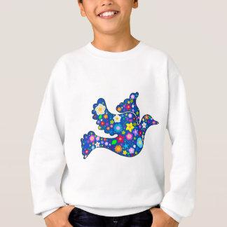 Sweatshirt Colombe bleue de paix faite de fleurs décoratives