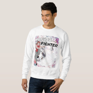 Sweatshirt Combattant de Kungfu à l'arrière-plan abstrait de