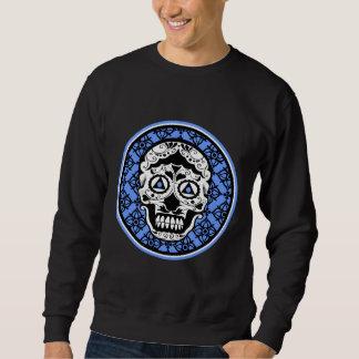 Sweatshirt Conception noire blanche bleue de damassé de crâne