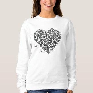 Sweatshirt Conception noire et blanche personnalisée de coeur