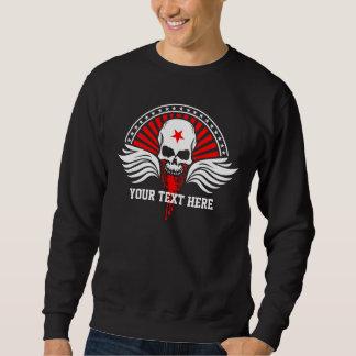 Sweatshirt Crâne et ailes customisés de cycliste des textes