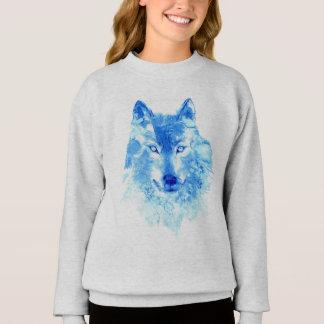 Sweatshirt de loup d'hiver d'aquarelle