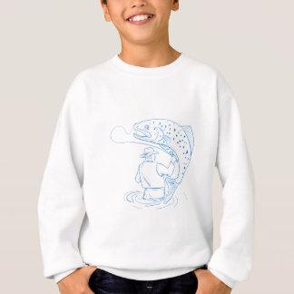 Sweatshirt Dessin de pêche de truite de pêcheur de mouche