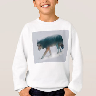 Sweatshirt Double exposition de loup - forêt de loup - loup