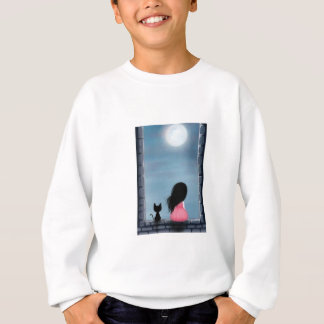 Sweatshirt Fille et chat dans la fenêtre - girl and cat on