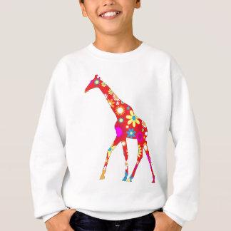 Sweatshirt floral génial d'enfants de girafe rétro