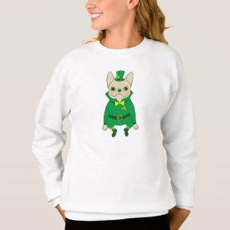Sweatshirt Frenchie mignon chanceux le jour de St Patrick