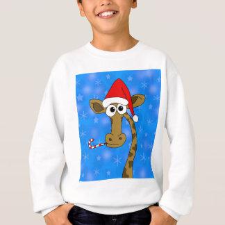 Sweatshirt Girafe de Noël - bleu