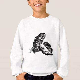 Sweatshirt Gravure du bois vintage d'oiseau de hiboux de