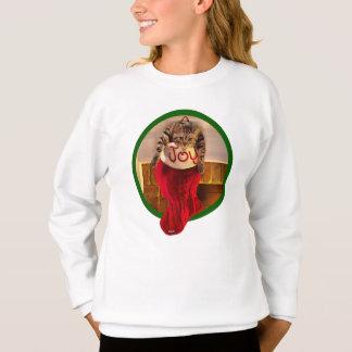 Sweatshirt Gros chat dans le bas de Noël