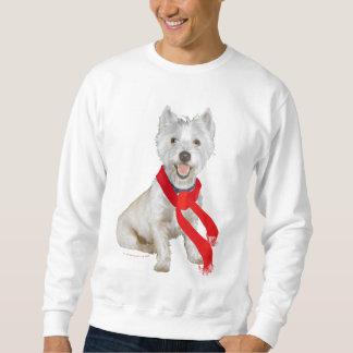 Sweatshirt Hiver Westie dans une écharpe rouge