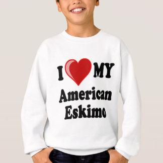 Sweatshirt J'aime (coeur) mon chien esquimau américain