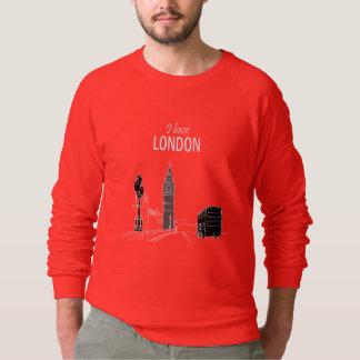 Sweatshirt J'aime croquis moderne de cool de rouge de Londres