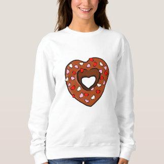Sweatshirt L'amour de beignet de coeur de chocolat arrose des