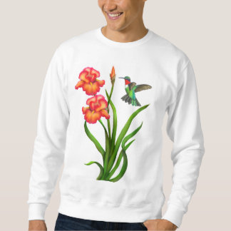 Sweatshirt Le colibri Throated rouge sur l'iris fleurit la