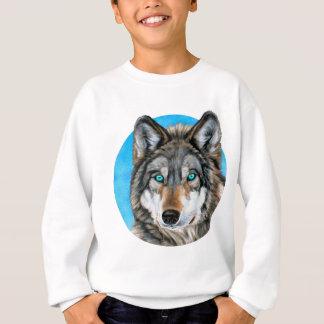 Sweatshirt Loup peint (yeux bleus)