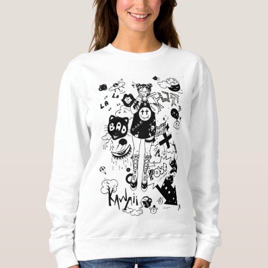 Sweatshirt manga kawaii black and white