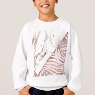 Sweatshirt Marbre rose d'or et fougères tropicales