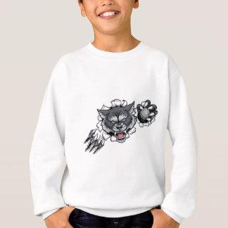 Sweatshirt Mascotte de golf de loup cassant l'arrière - plan