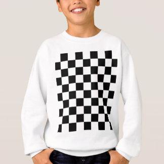 Sweatshirt motif d'échiquier noir et blanc