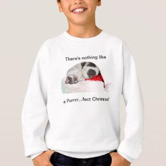 Sweatshirt Noël, chat de sommeil, casquette de Père Noël