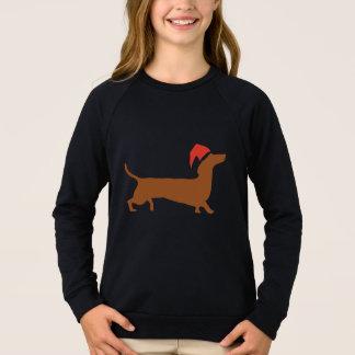Sweatshirt Noël de teckel de Père Noël