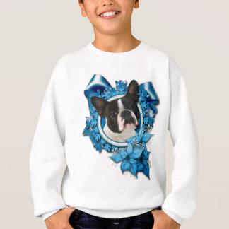 Sweatshirt Noël - flocons de neige bleus - Boston Terrier