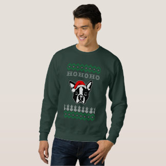Sweatshirt Noël laid de chien de Boston Terrier Ho Ho Ho