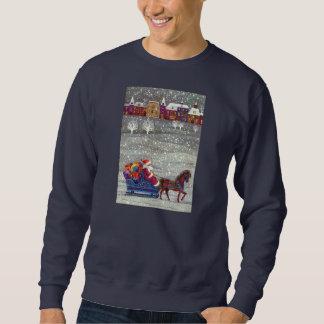 Sweatshirt Noël vintage, cheval Sleigh ouvert du père noël