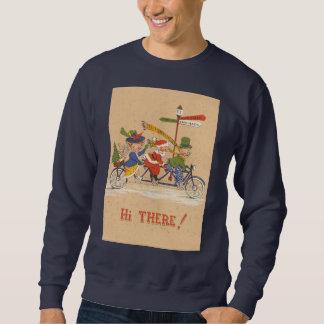 Sweatshirt Noël vintage, le père noël montant une bicyclette