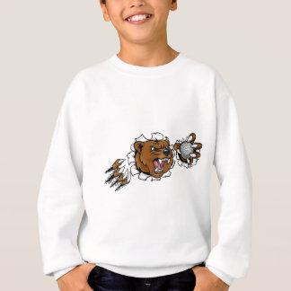 Sweatshirt Ours tenant la boule de golf cassant l'arrière -