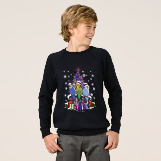 Sweatshirt Perruches avec le cadeau et les flocons de neige