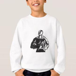 Sweatshirt Plombier de super héros avec la gravure sur bois