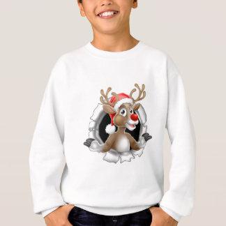 Sweatshirt Renne de casquette de Père Noël déchirant par