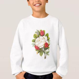 Sweatshirt Rose blanc avec les bourgeons rouges
